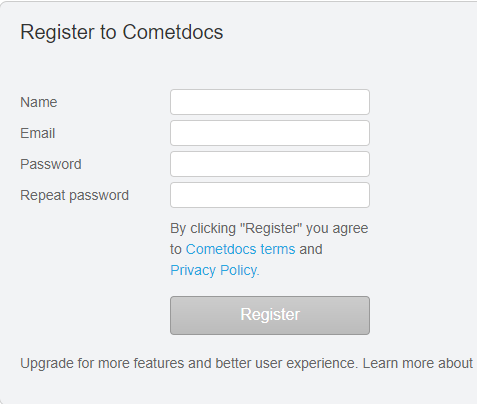 register to cometdocs