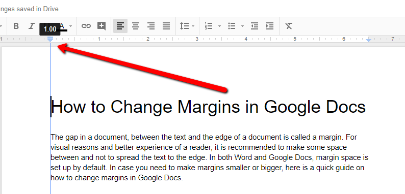 change margins in google docs