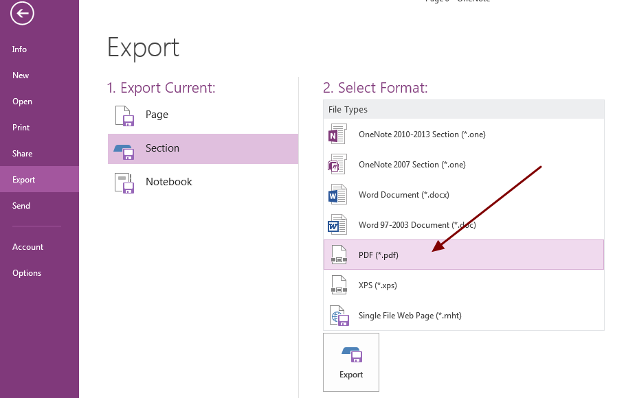 Export secton notebook to PDF