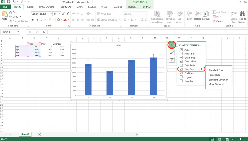 How to add error bars in Excel 2019, 2016 and 2013