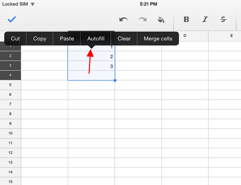 autofil data in google sheets