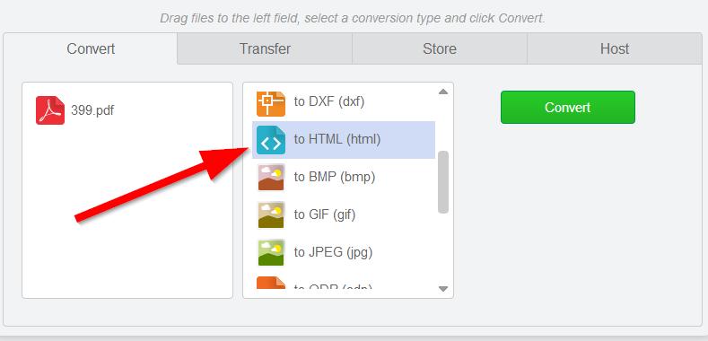 choose conversion format pdf to html