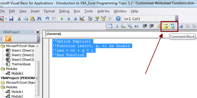 How to Comment/Uncomment Multiple Lines of VBA Code in Excel at Once?