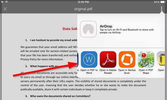 convert doc to pdf on iphone