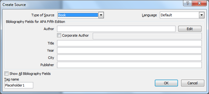 create source in word