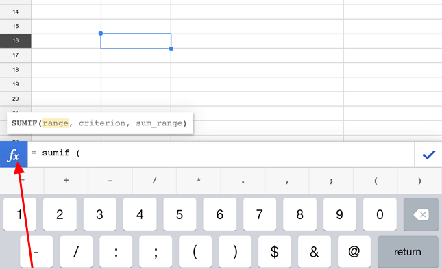 entering formula in google sheets