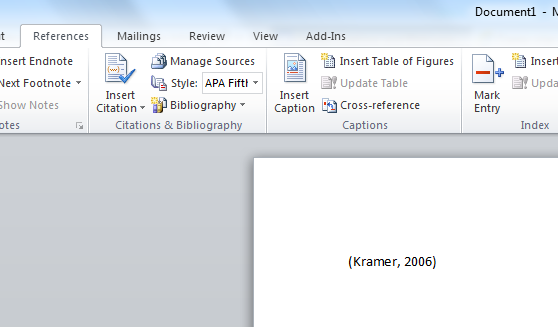 example of reference in word