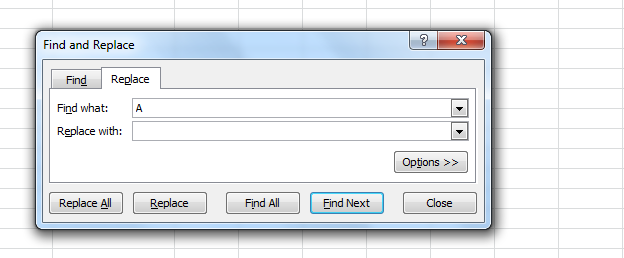 find and replace excel functionality