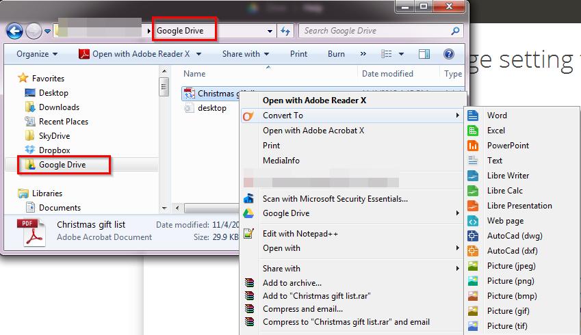 google drive convert files