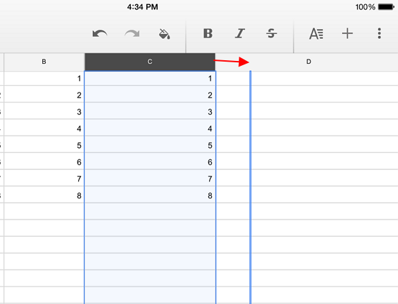 increase column row size
