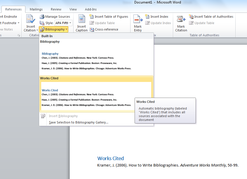 insert bibliography in word