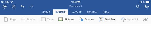 insert word processing ipad