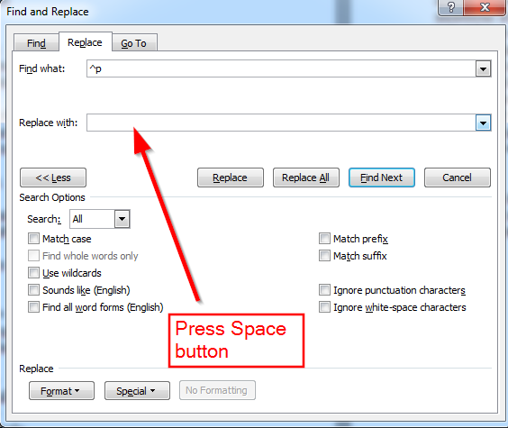 press space button word