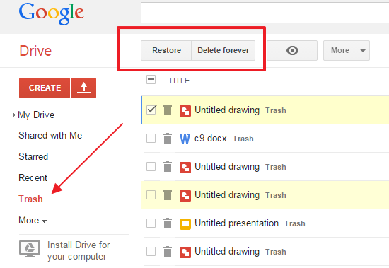 recover deleted pdf file from trash
