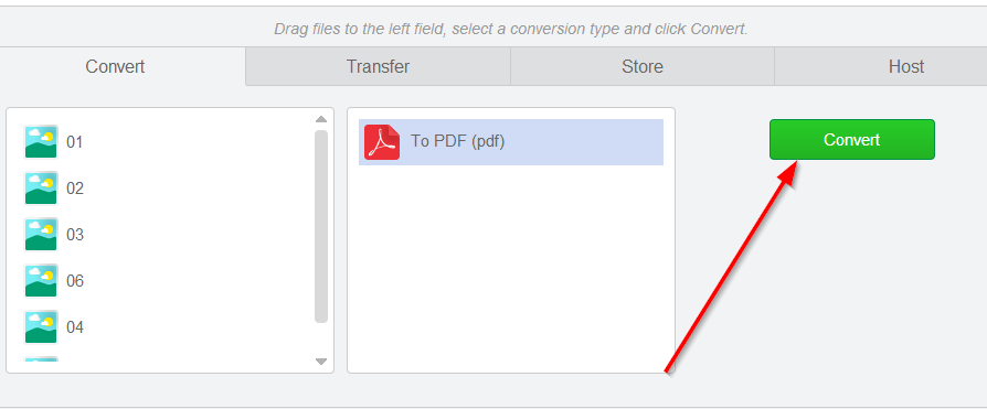 convert images to pdf format