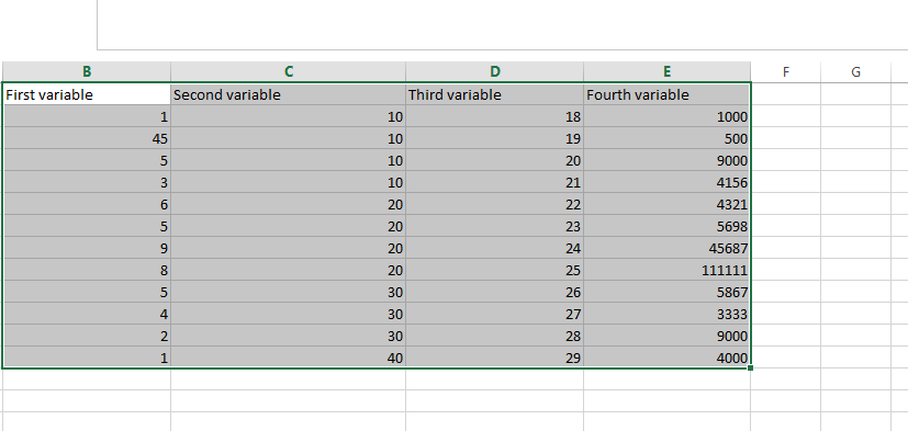selection of variables in excel