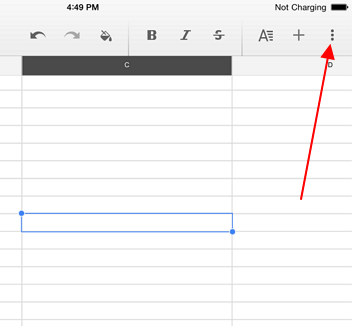 settings google sheets more options