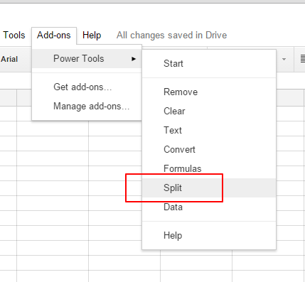 split menu google sheets