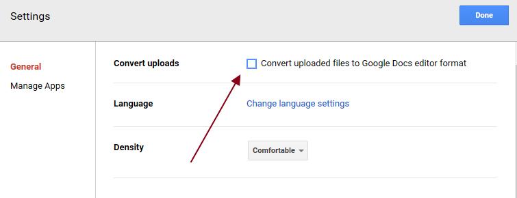 uncheck the google docs conversion